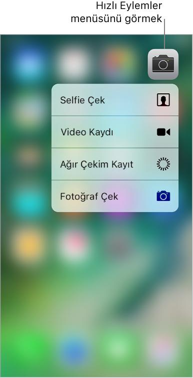 Ana Ekran bulanıklaşır, Kamera simgesinin altında Kamera Hızlı Eylemler menüsü görünür.