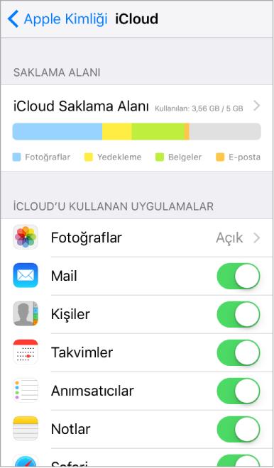 iCloud saklama alanı göstergesinin ve Mail, Kişiler ve Takvimler gibi iCloud ile kullanılabilecek uygulamaların ve servislerin bir listesinin gösterildiği iCloud ayarlama ekranı