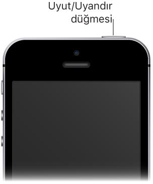 Uyut/Uyandır düğmesini gösteren belirtme çizgisiyle iPhone'un ön tarafının üst bölümü.