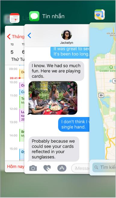 Màn hình bộ chuyển đổi ứng dụng đang hiển thị các ứng dụng đang mở. Ở trên cùng là các biểu tượng ứng dụng, với màn hình hiện tại cho từng ứng dụng bên dưới biểu tượng.