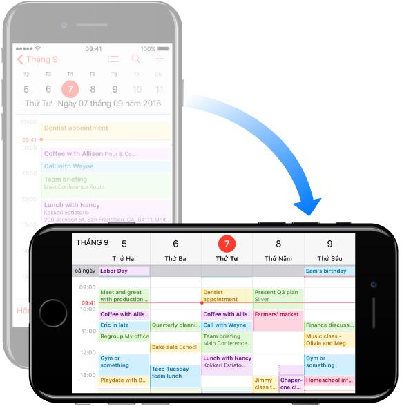 Trong nền sau, iPhone ở hướng dọc đang hiển thị Lịch ở chế độ xem ngày; ở nền trước, thiết bị được xoay sang hướng ngang đang hiển thị Lịch ở chế độ xem tuần.