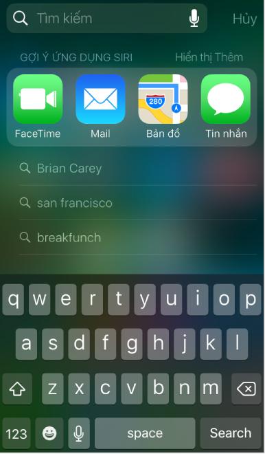 Màn hình Tìm kiếm hiển thị gợi ý Siri.
