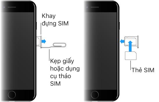 Hình ảnh thể hiện cách lắp thẻ SIM vào iPhone. Trước tiên, cắm đầu của chiếc kẹp giấy hoặc dụng cụ tháo SIM vào lỗ nhỏ của khay đựng thẻ SIM ở sườn bên phải của iPhone để tháo và lấy khay ra. Sau đó, đặt thẻ SIM vào trong khay—góc được cắt vát xác định hướng đúng—và lắp lại khay đựng thẻ SIM vào iPhone.