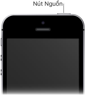 Phần phía trên của mặt trước iPhone với chú thích trỏ đến nút Nguồn
