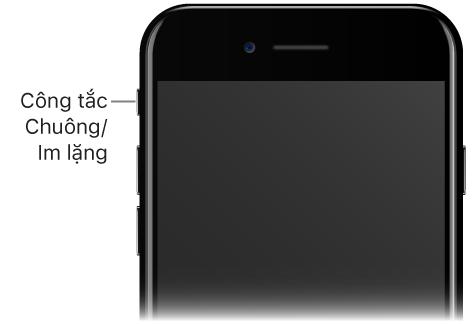 Phần phía trên của mặt trước iPhone với chú thích trỏ đến công tắc Chuông/Im lặng