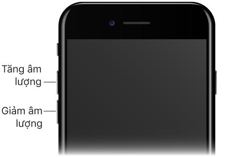 Phần phía trên của mặt trước iPhone với các chú thích trỏ đến các nút Tăng âm lượng và Giảm âm lượng