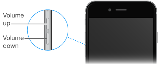 The upper portion of iPhone with a close-up of the Volume up and Volume down buttons
