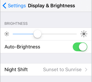 Brightness slider and Auto-Brightness on/off settings