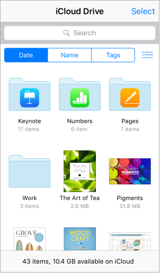 iCloud Drive folders for apps and projects. Icons for individual documents are below