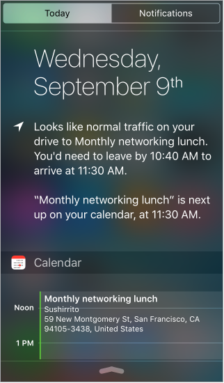 Today view of Notification Center showing the date, traffic conditions, and the day's events.