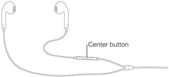Headset, with center button on the cord to the right earpiece