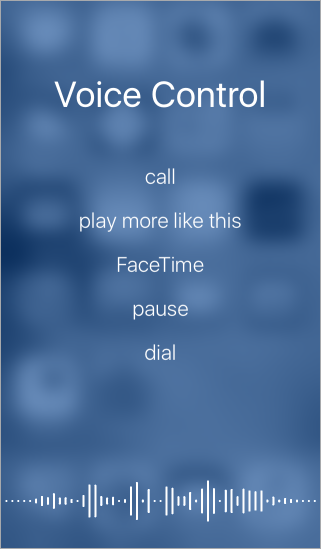 Voice control screen, showing examples of commands you can use. A wave form appears along the bottom of the screen