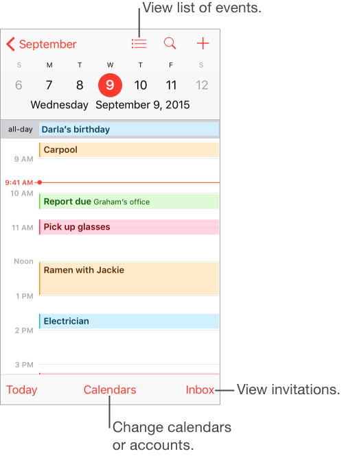 A calendar in day view. Tap the Calenders button at the bottom of the screen to change calendar accounts. Tap the Inbox button in the lower right to view invitations
