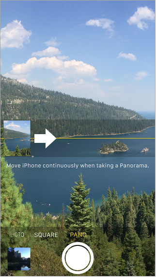 Camera in Panorama mode. An arrow, left of center, points right to show the direction of the pan