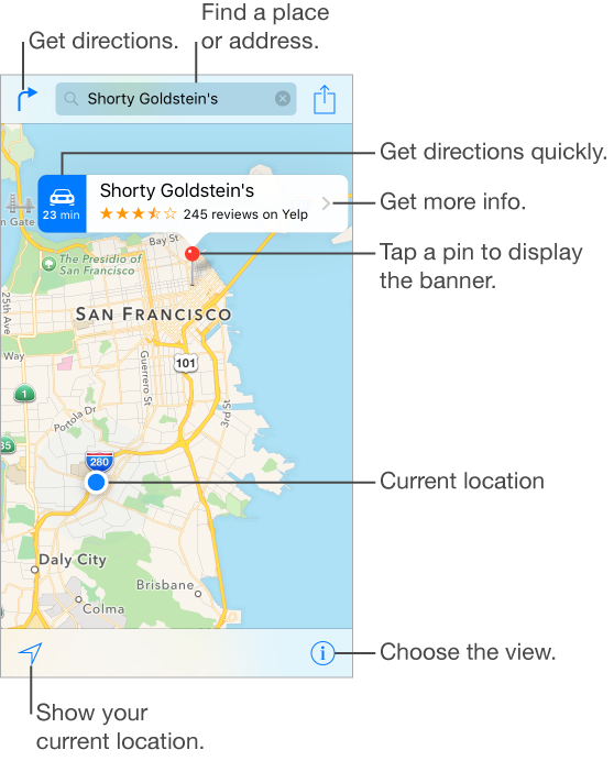 A map showing a location (indicated by a red pin). Above the pin is a banner, with a button to get directions on the left, the name of the location and Yelp star rating and number of reviews, and the More Info button on the right. Tap a pin to display the banner. Tap the Directions button in the upper left to get a route. Tap the Search field at the top of the screen to find a place or address. Tap the Tracking button to show your current location. Tap the Settings button to choose the view