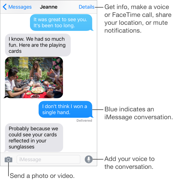Messages conversation. At the top is the title bar with the name of the person you're texting or name of the group conversation, along with the Messages button and Details button. Below the title bar are the text messages sent and received during a conversation, and a photo included in the conversation. At the bottom of the screen are the attach media button for sending photos and videos, the text entry field, and the record audio button for adding your voice to the conversation