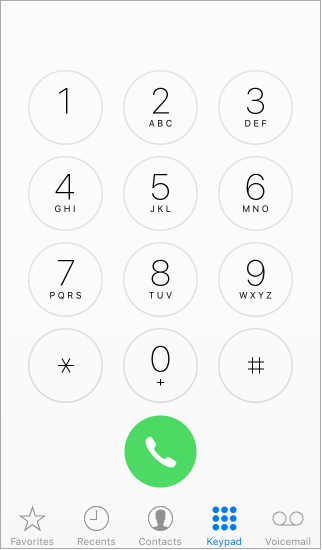 The Phone keypad with the row of tabs along the bottom of the iPhone screen showing options. The tabs from left to right are: Favorites, Recents, Contacts, Keypad, and Voicemail