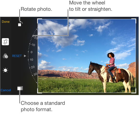 Crop screen with Crop, Filter, and Adjustments icons are aligned vertically along the left edge. Indented from there are the Rotate icon at the top, the tilt wheel in the middle with the Reset option showing, and the Ratio icon at the bottom
