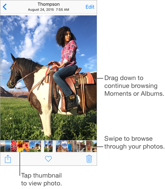 Full-screen view of a photo with thumbnails below it. The Edit button appears in the upper right. The Share, Favorite, and Trash Can icons appear at the bottom