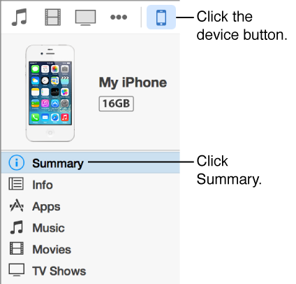 A picture of the device button with Summary selected in the sidebar