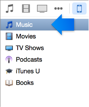 Arrow pointing at Music on the left side of the iTunes window