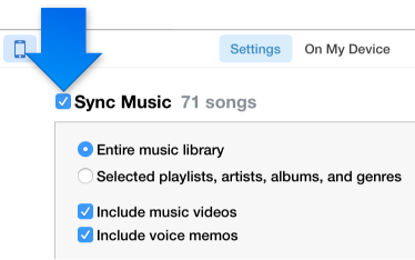 Click a button to select the kind of content you want to sync, then select the sync checkbox and select the items you want to sync automatically