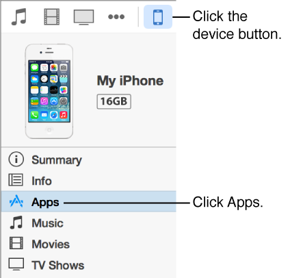 A picture of the device button with Apps selected in the sidebar