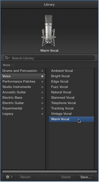 図。 ボーカルのパッチが選択された「ライブラリ」。