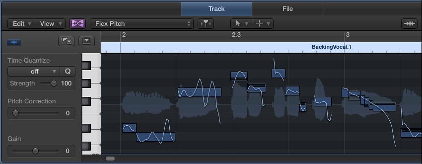 図。 Flex Pitch モードのリージョンが表示されたオーディオ・トラック・エディタ。