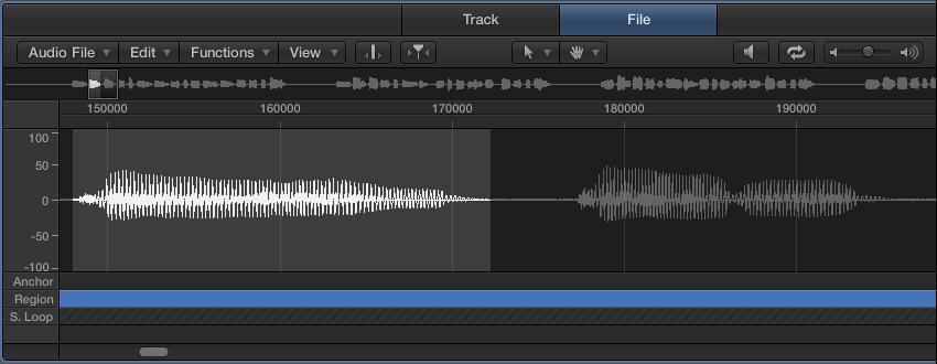 図。 選択したオーディオファイルの波形が表示されオーディオ・ファイル・エディタ。