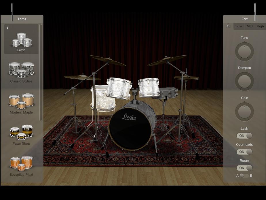 図。 ドラムキット、交換パネル、「Edit」パネルが表示された Drum Kit Designer。