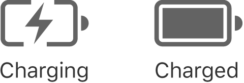 Charging and charged battery status icons