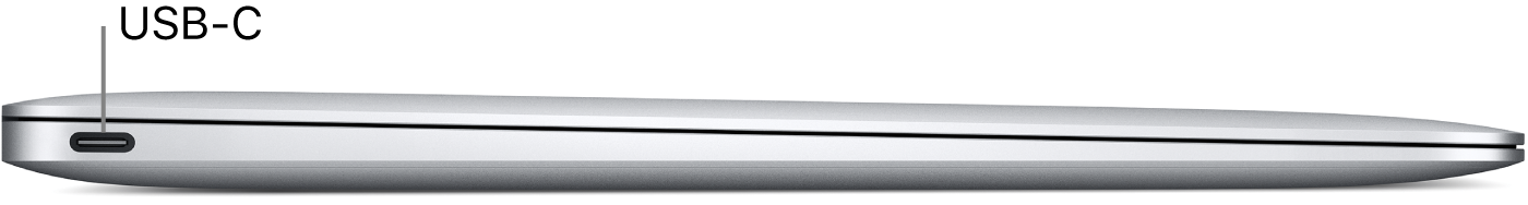 Left side view of a MacBook, with a callout to the USB-C port.