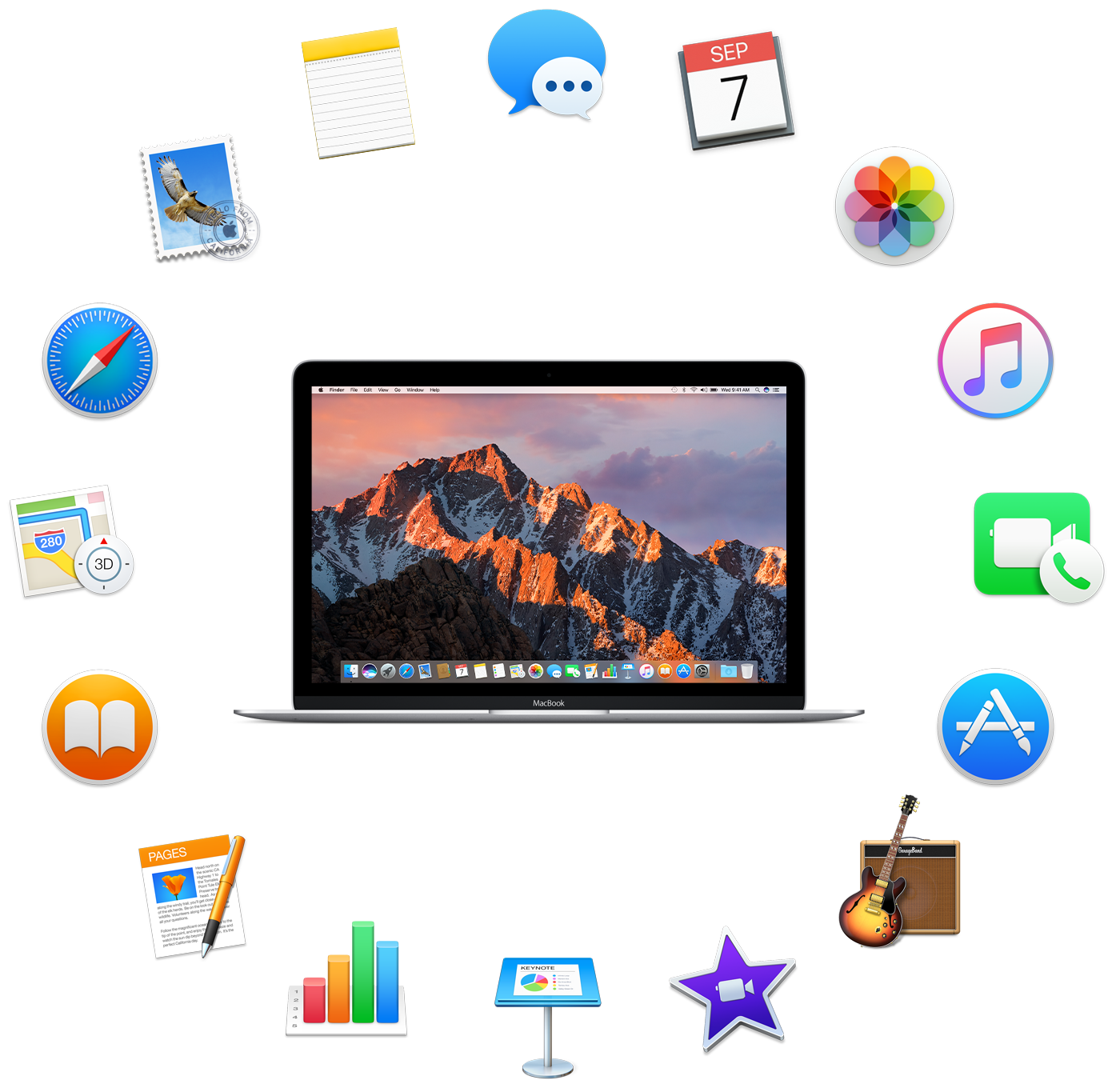 A MacBook surrounded by the icons for the apps that come installed and are described in the following sections.