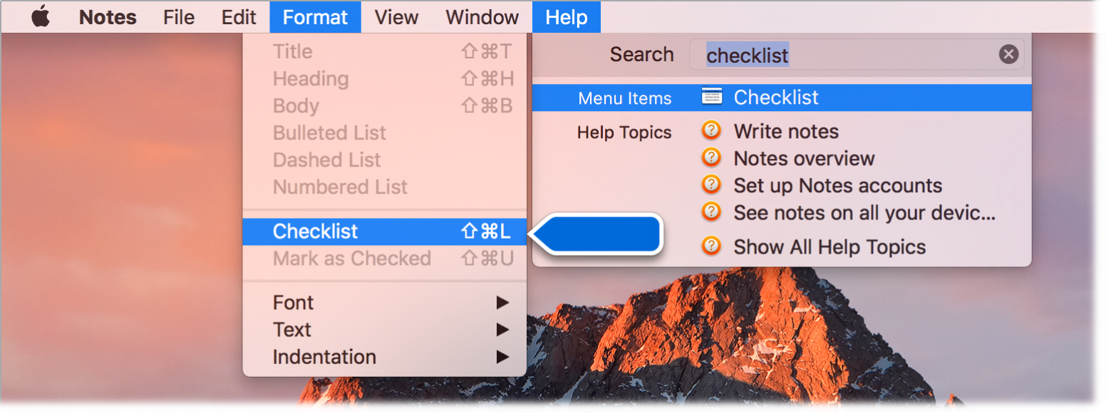 "Help window showing a search for ""checklist"" with the Checklist command highlighted in the results list and in the Format menu."