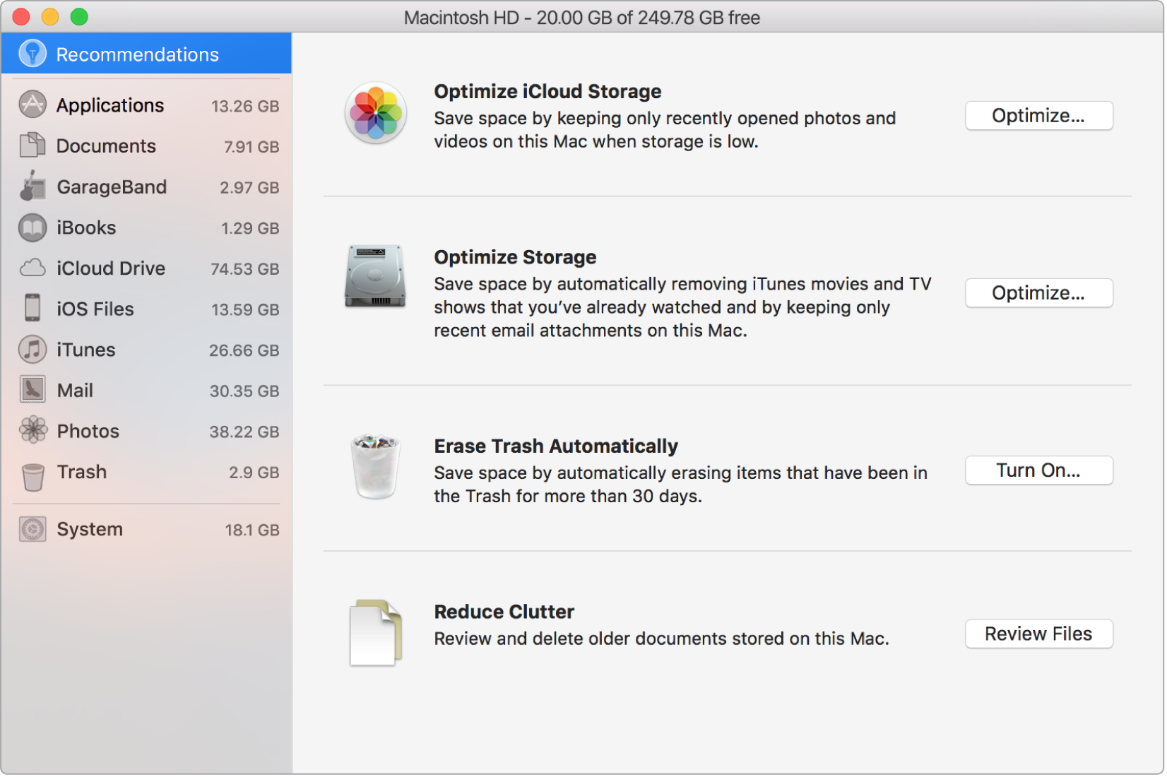 The Recommendations preferences for storage, showing the options Optimize iCloud Storage, Optimize Storage, Erase Trash Automatically, and Reduce Clutter.