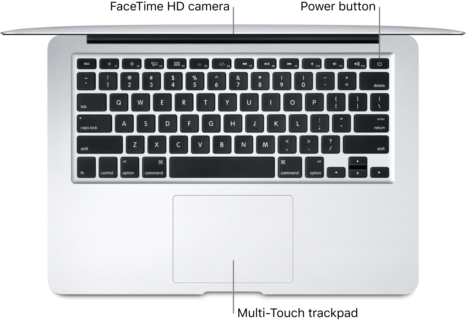 Looking down on an open MacBook Air, with callouts to the FaceTime HD camera, the power button, and the Multi-Touch trackpad.