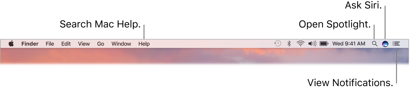 The menu bar with callouts to Search Mac Help, Open Spotlight, Ask Siri, and View Notifications.