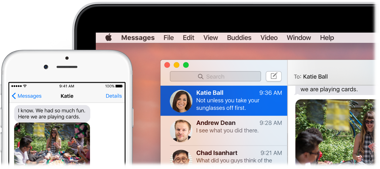 Messages app open on a MacBook Pro, displaying the same conversation on an iPhone.