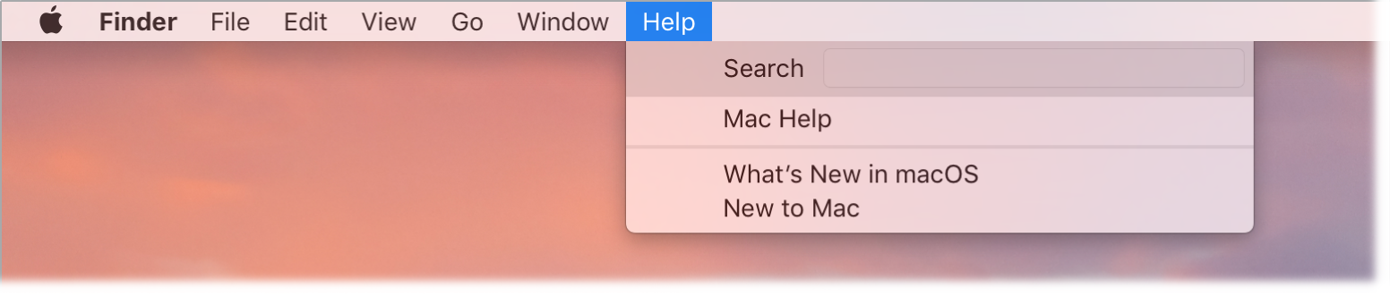 A partial desktop with the Help menu open, showing the options for Search, Mac Help, What's New in macOS, and New to Mac menu options.