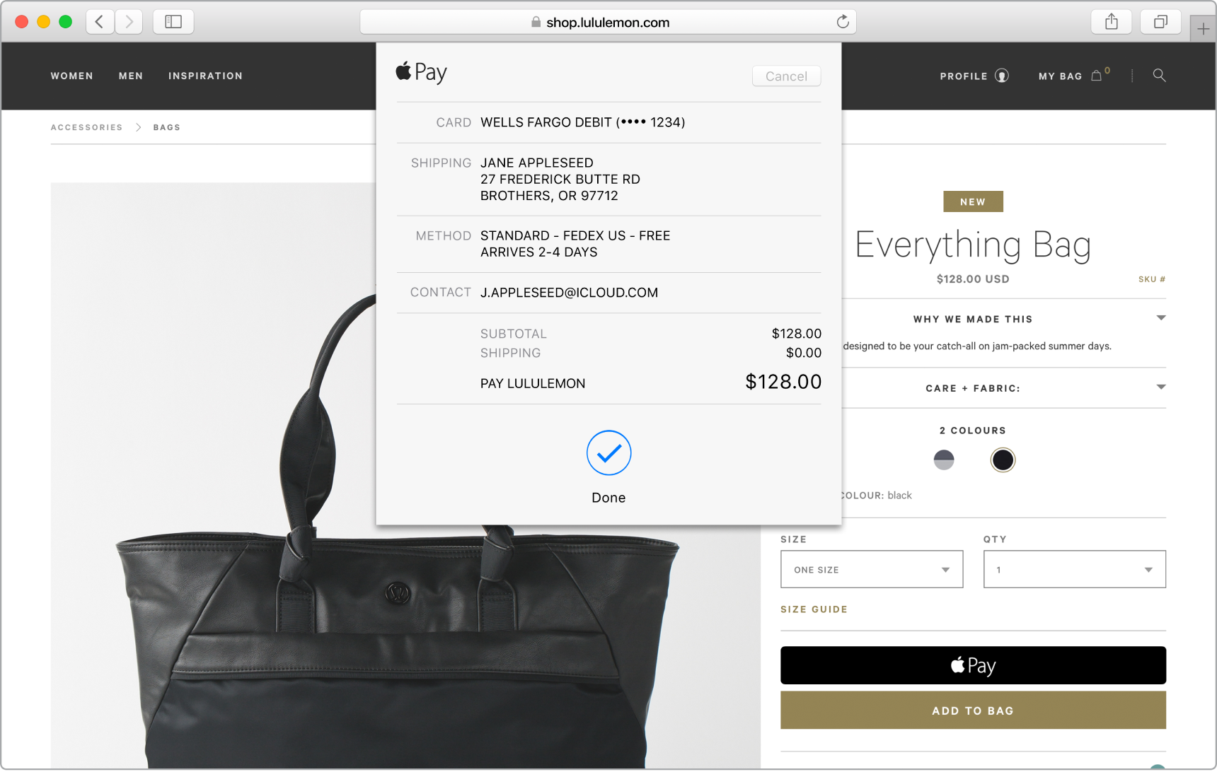 "A screenshot showing a purchase in process using the ""Buy with Apple Pay"" option."