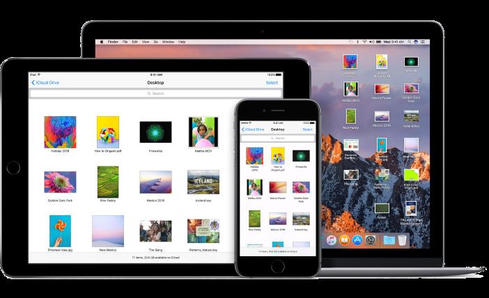 """Dieselben Dateien und Ordner werden auf dem Schreibtisch Ihres Mac und in der App """"iCloudDrive"""" auf iPhone und iPad angezeigt."""