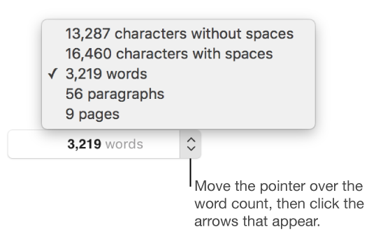 View Word and character counts in a document